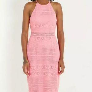Nordstrom pink midi dress lace L Large